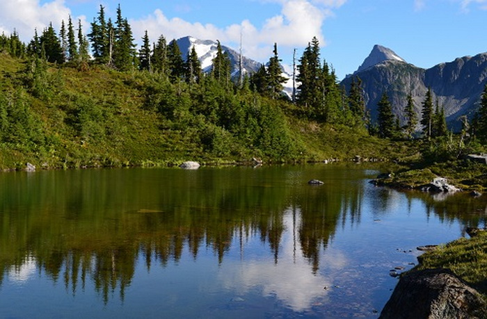 Small mountain lake near M. Gurr Lake, Bella Coola, BC, Canada